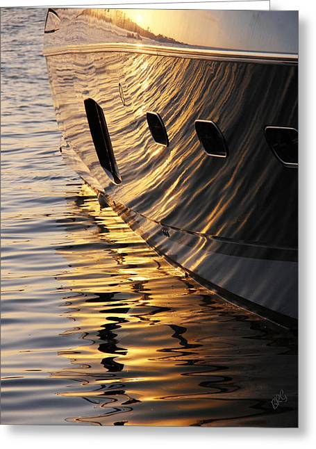 Sunset Reflections With Boat No 1 Greeting Card