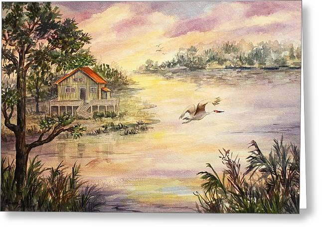 Greeting Card featuring the painting Sunset Retreat by Roxanne Tobaison