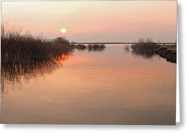 Sunset  River Panorama Greeting Card by Vitaliy Gladkiy