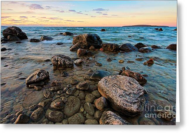 Sunset Rocks Greeting Card by Charline Xia