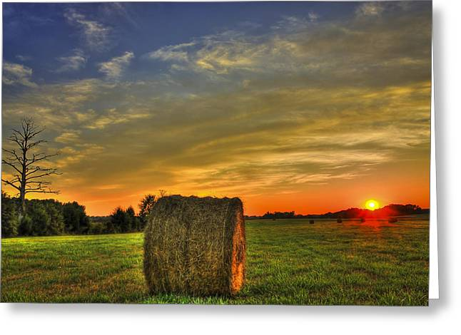 Sunset Round Bale Lick Skillet Road Greeting Card by Reid Callaway