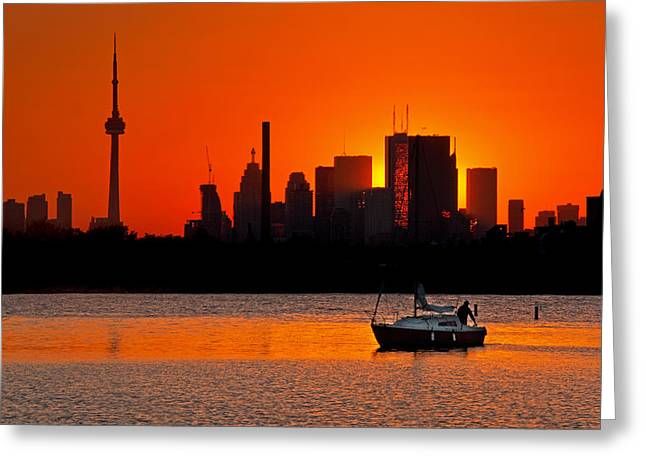 Sunset Sail Ashbridges Bay Toronto Canada Greeting Card