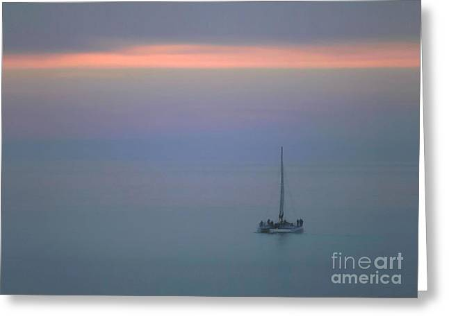Greeting Card featuring the photograph Sunset Sail by Clare VanderVeen