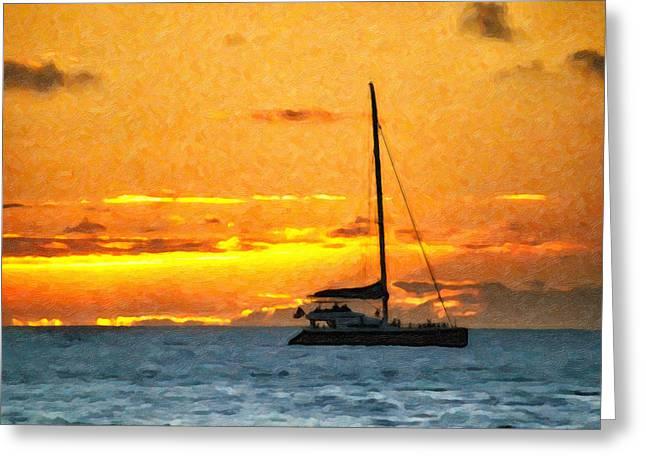 Sunset Sail Off Maui Greeting Card by Kayta Kobayashi