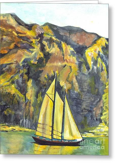 Sunset Sail On Lake Garda Italy Greeting Card by Carol Wisniewski