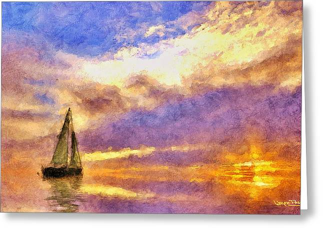 Sunset Sail Greeting Card by Wayne Pascall