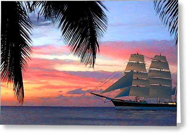 Sunset Sailboat Filtered Greeting Card