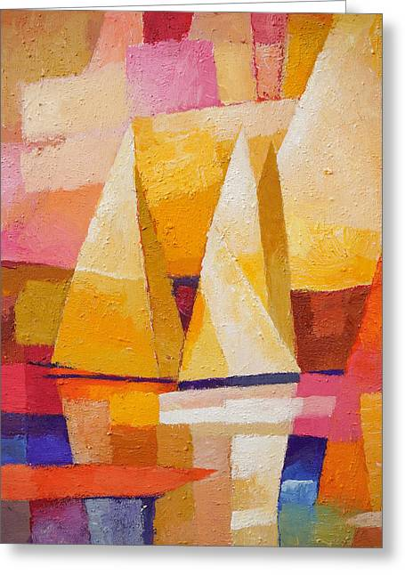 Sunset Sailboats Greeting Card by Lutz Baar