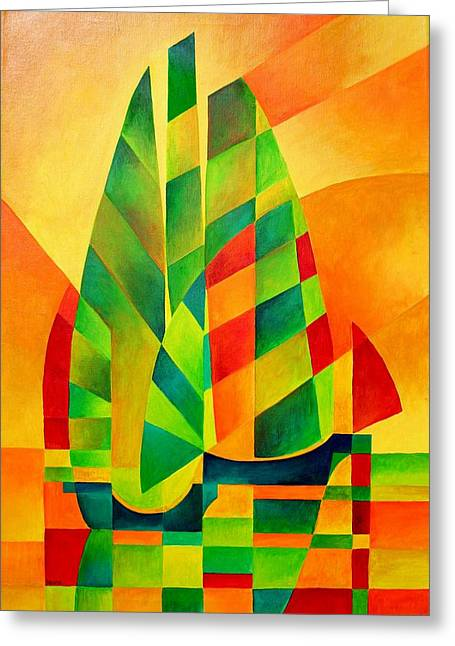 Greeting Card featuring the painting Sunset Sails And Shadows by Tracey Harrington-Simpson