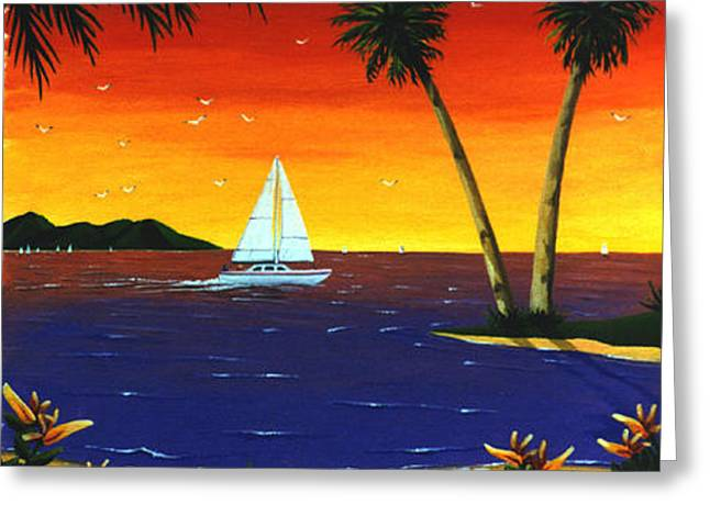 Sunset Sails Greeting Card by Lance Headlee