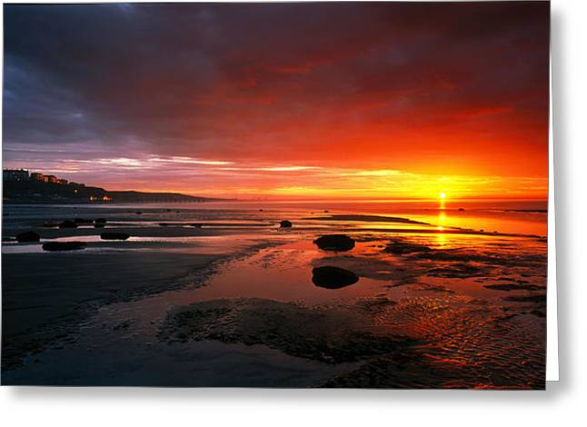 Sunset Saltburn N England Greeting Card by Panoramic Images