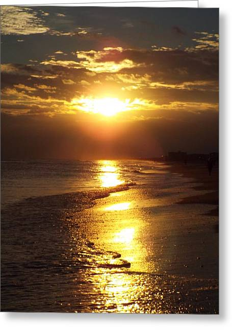 Sunset  Sand  Waves Greeting Card by Cindy Croal