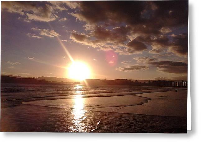 Sunset Santos Brazil Greeting Card by Vera Radoja de Vasconcelos