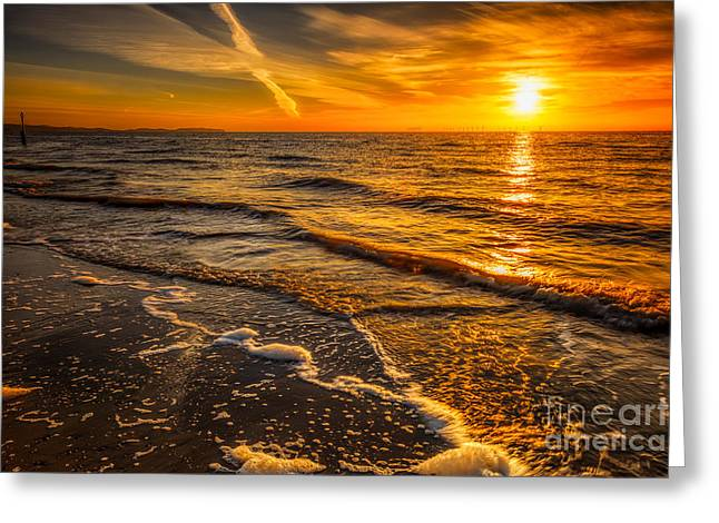 Sunset Seascape Greeting Card by Adrian Evans