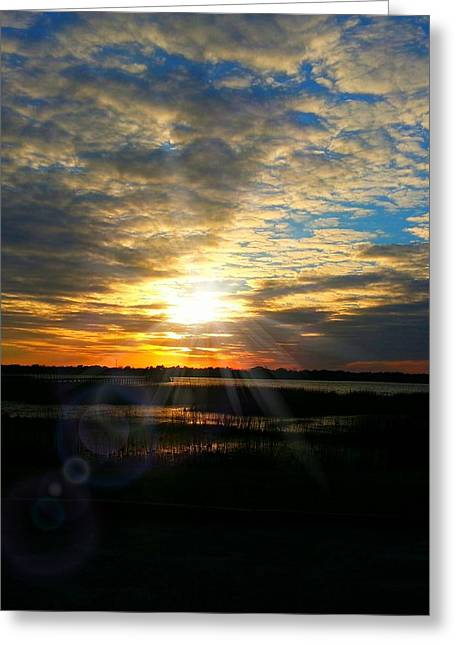 Sunset Sets Off Cloud Explosion Greeting Card by Joetta Beauford