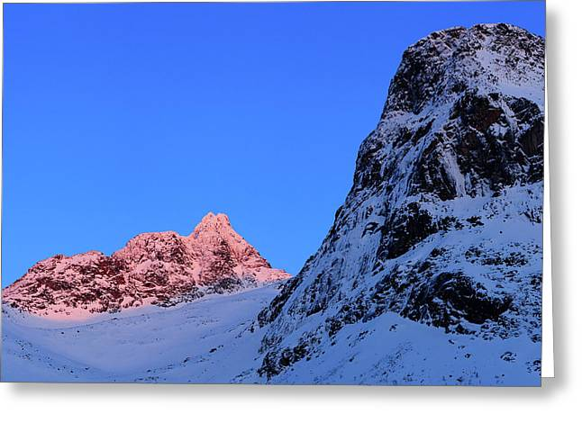 Sunset Shines On Snow-covered Rugged Greeting Card
