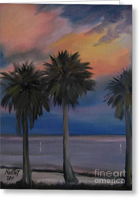 Sunset Shore Greeting Card by Jindra Noewi