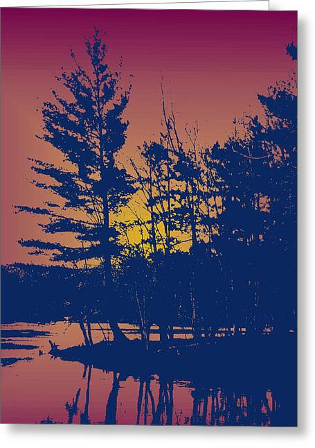 Sunset Silhouette Greeting Card by Larry Capra