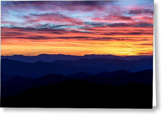 Sunset Silhouette On The Blue Ridge Parkway Greeting Card by Andres Leon