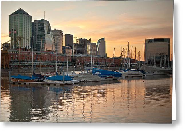 Buenos Aires Sunset Greeting Card by Silvia Bruno