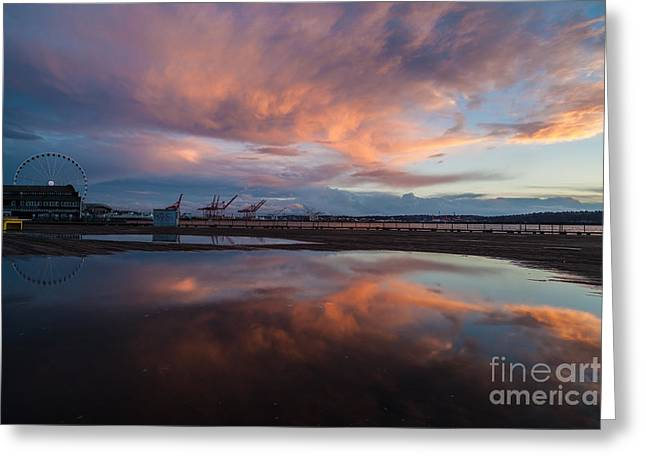 Sunset Skies And The Wheel Greeting Card