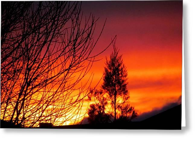 Sunset Sky . Greeting Card by Joyce Woodhouse