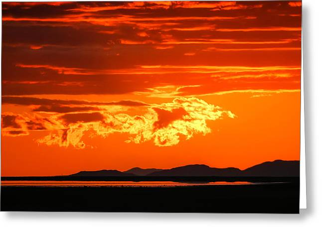 Sunset Sky Fire Greeting Card by Kirk Strickland