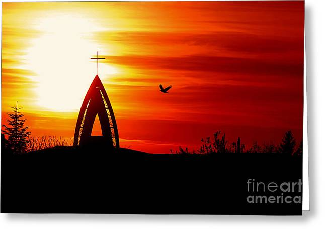 Sunset - Sky In The Fire Greeting Card by Martin Dzurjanik