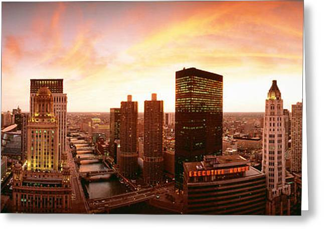 Sunset Skyline Chicago Il Usa Greeting Card
