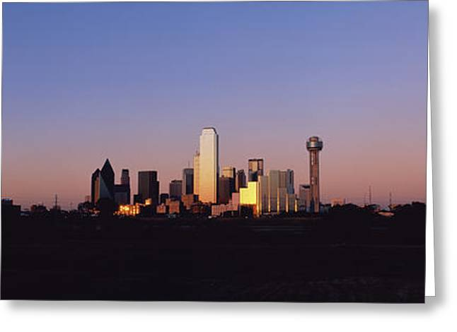 Sunset Skyline Dallas Tx Usa Greeting Card by Panoramic Images
