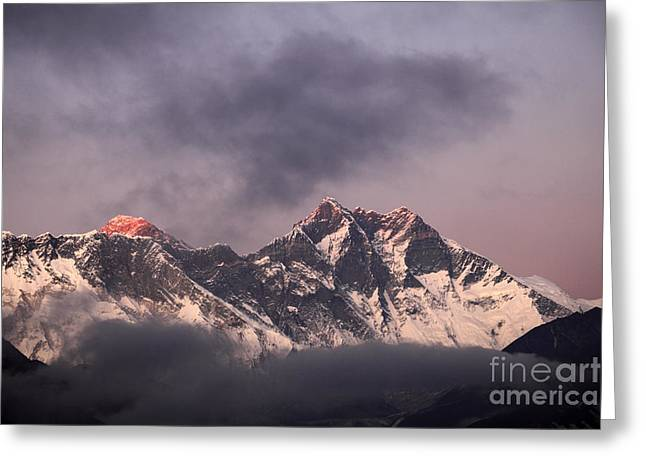 Sunset Snow Capped Mount Everest Himalayas Nepal Greeting Card by Dave Porter