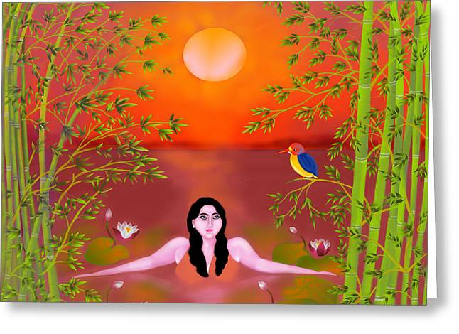 Sunset Songs Greeting Card by Latha Gokuldas Panicker