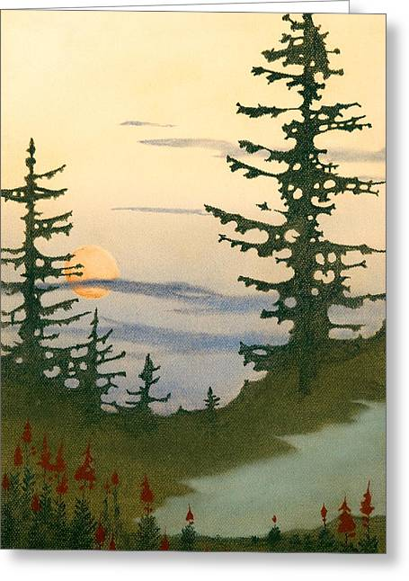 Sunset Spruces Greeting Card by Bruce Richardson