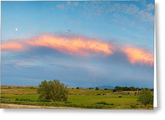 Sunset Storm And Moon From Longmont To Boulder Co Panorama Greeting Card by James BO  Insogna