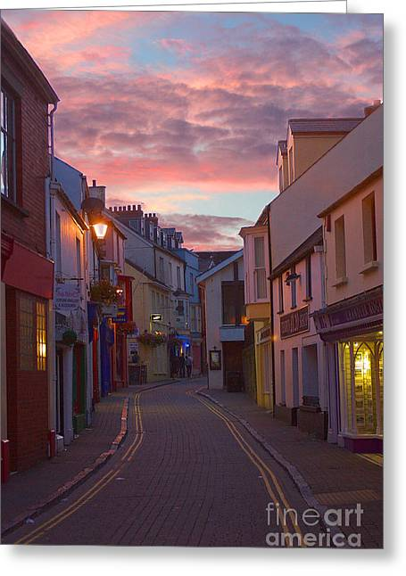 Greeting Card featuring the photograph Sunset Street by Jeremy Hayden