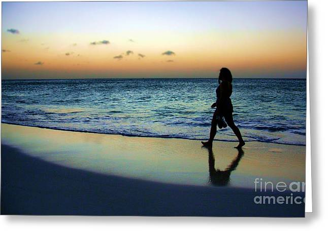 Sunset Stroll In Aruba Greeting Card