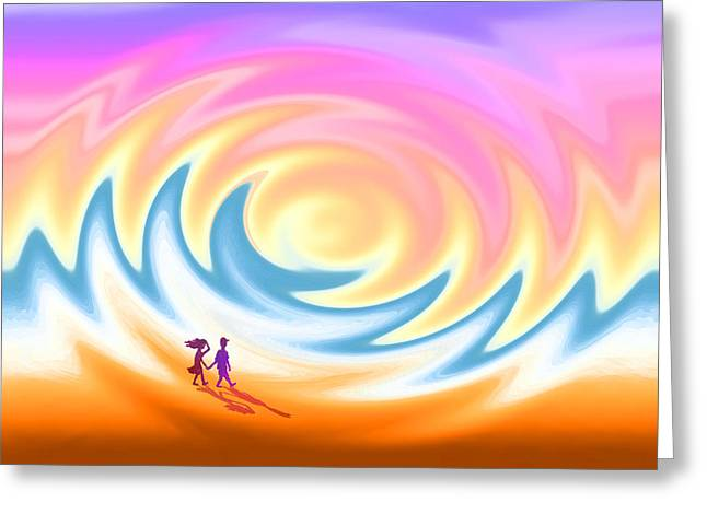Sunset Stroll On A Windy Beach Greeting Card