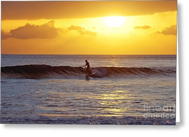 Sunset Surf Maui Greeting Card by David Olsen