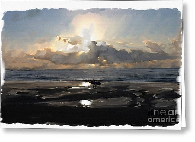 Sunset Surfer Greeting Card by Roger Lighterness