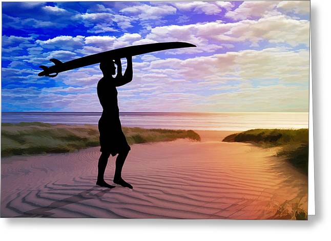 Sunset Surfer Sand And Clouds Greeting Card by Elaine Plesser