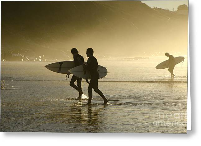 Sunset Surfers Biarritz Greeting Card by Perry Van Munster