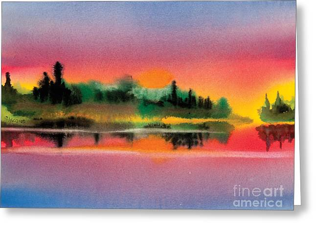 Greeting Card featuring the painting Sunset by Teresa Ascone