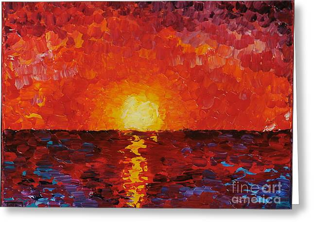Sunset Greeting Card by Teresa Wegrzyn