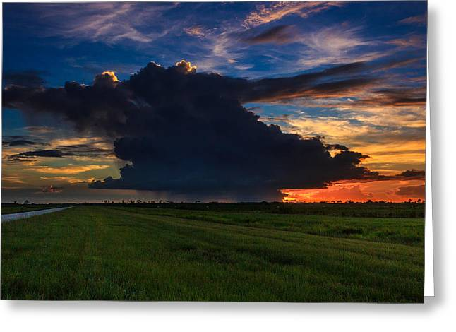 Sunset Through The Rain Greeting Card