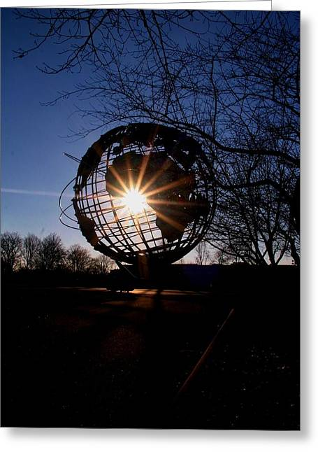 Sunset Through The Unisphere Greeting Card