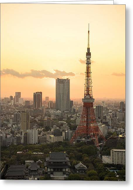 Sunset Tokyo Tower Greeting Card by For Ninety One Days