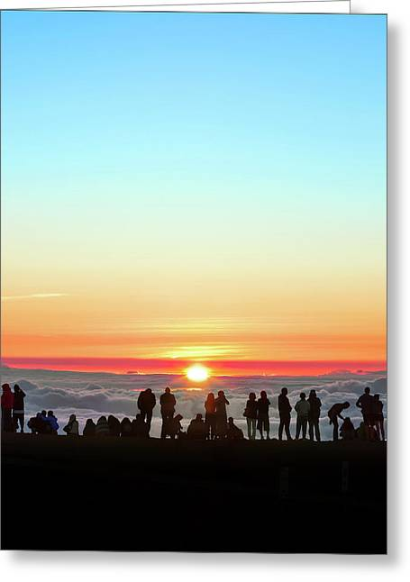 Sunset Tourism On Haleakala Greeting Card by Babak Tafreshi
