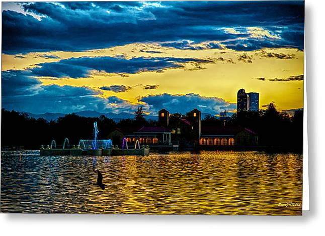 Sunset View Denver's City Park Greeting Card by Stephen  Johnson
