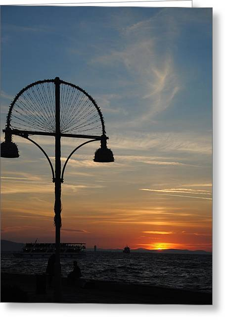 Sunset View From Kordon - Izmir Greeting Card by Jacqueline M Lewis