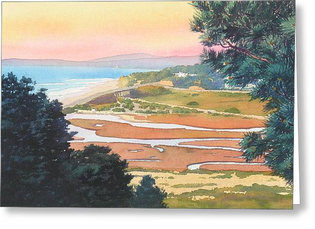 Sunset View From Torrey Pines Greeting Card by Mary Helmreich